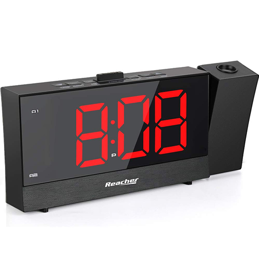 (CRP2)Projection Alarm Clock with Dual Alarm USB 0-100 Dimme